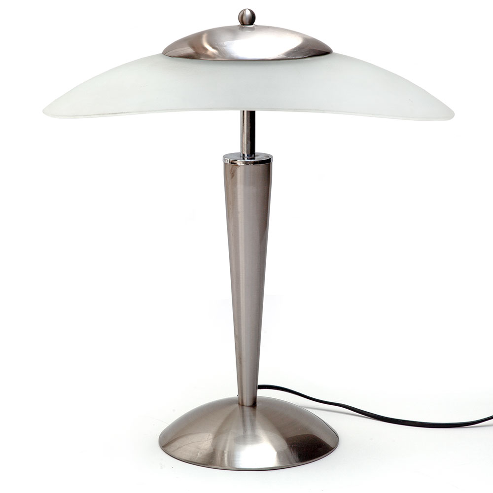 Brushed steel and frosted glass late 20th C. table lamp with three illumination settings, soft, medium and bright.