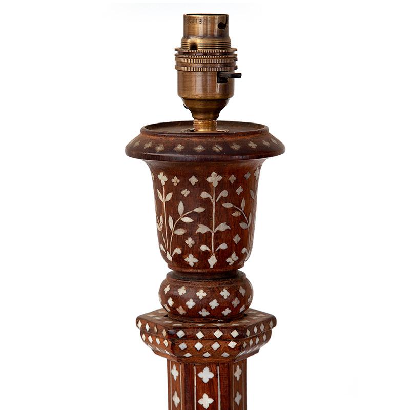 Rare Antique Hoshiarpur Bone Inlaid Standard Lamp