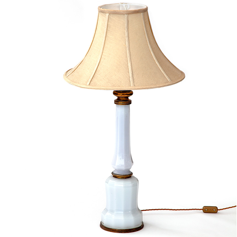 Antique white mallet form faceted table lamp with brass fittings (converted oil lamp). Circa 1870.