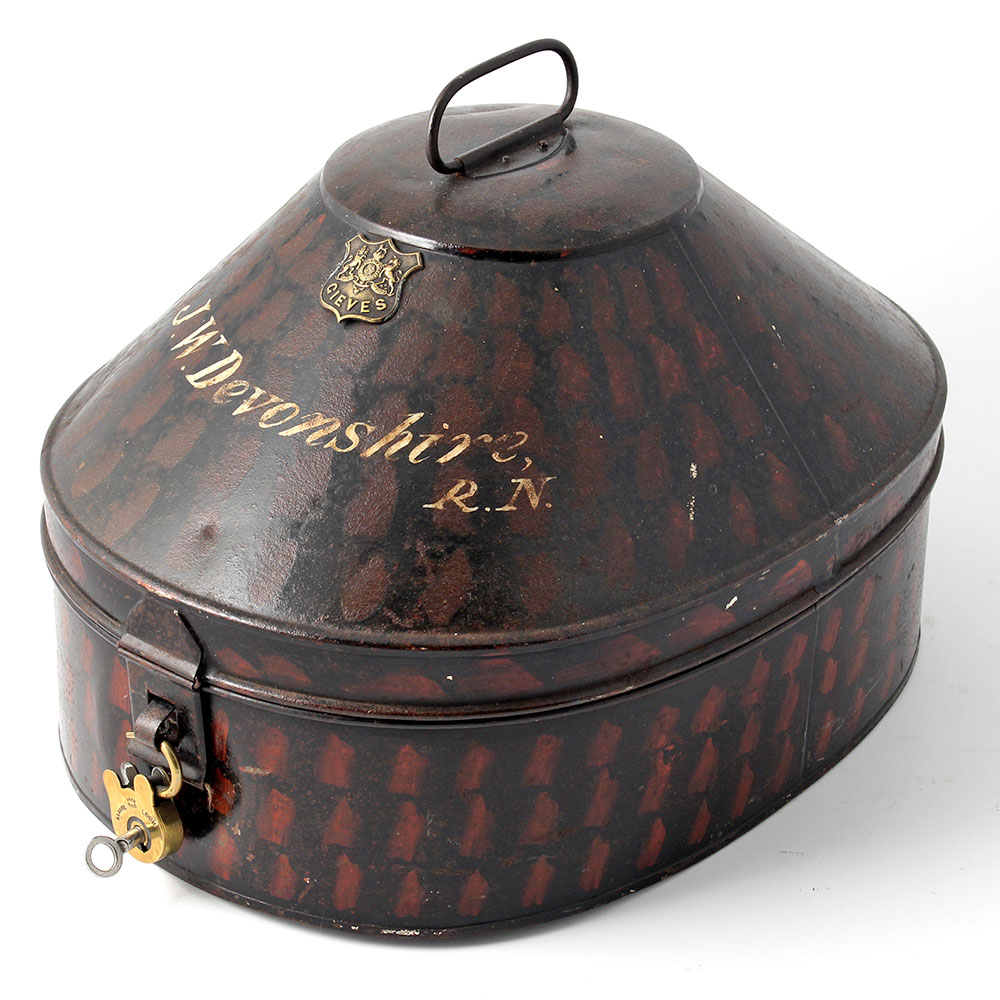 Gieves and Hawkes tole naval hat box with brass padlock and key.