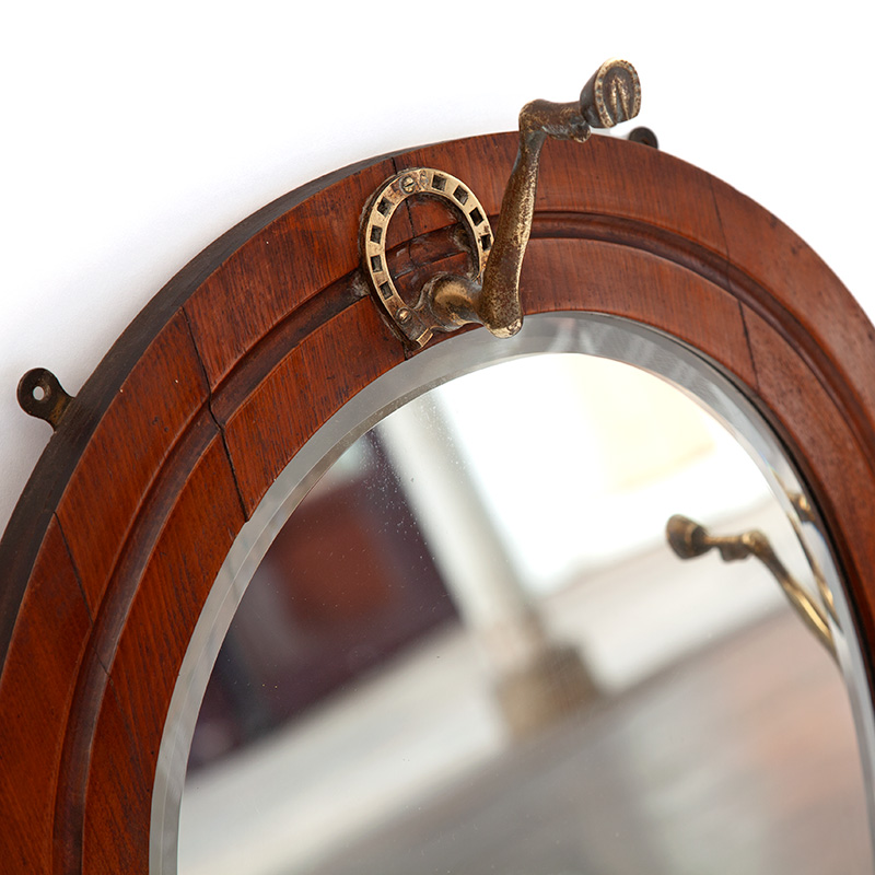 Oak Deep Bevelled Horseshoe Mirror with Cast Brass Fetlock and Horseshoe Hooks