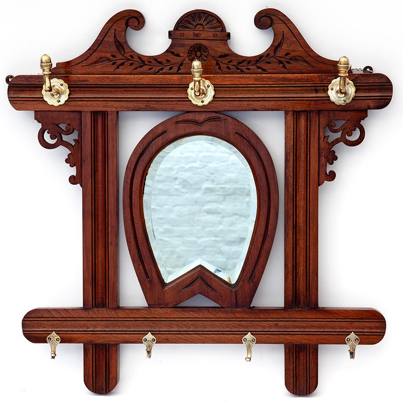 Mahogany Horseshoe Mirror with Deep Bevelled Plate and Brass Hooks