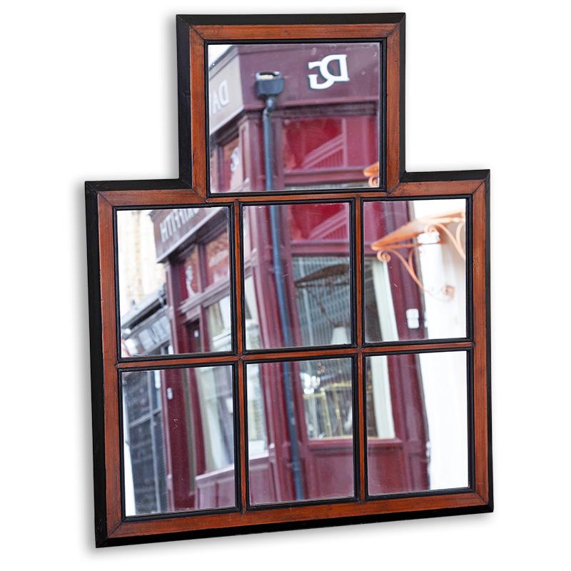 Part ebonized pine framed seven section mirror. (c.1880).