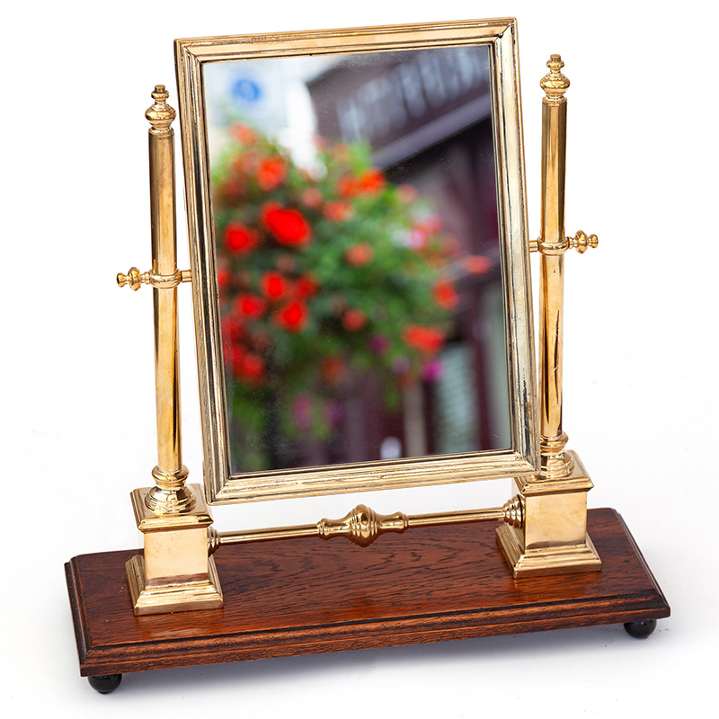 Brass Dressing Table Cheval Mirror on Polished Oak Stand