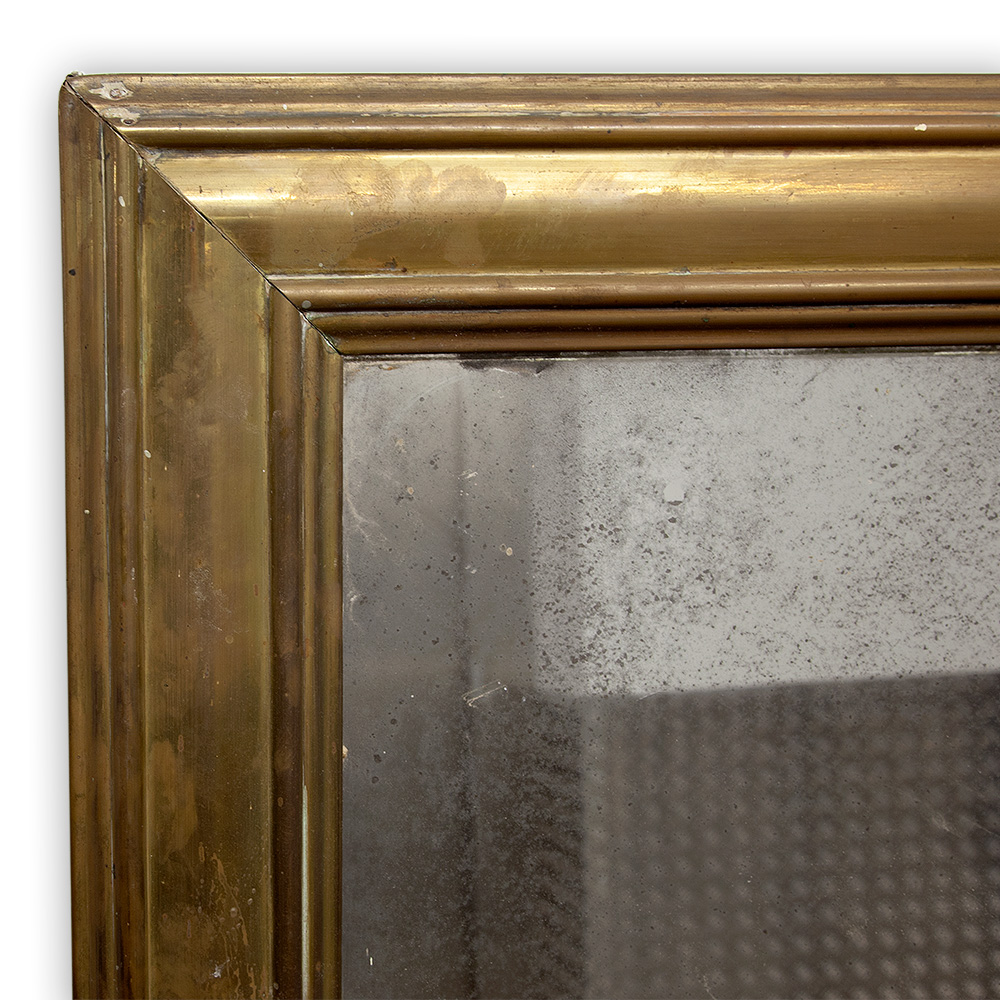 Huge French Unpolished Brass Framed Bistro Mirror