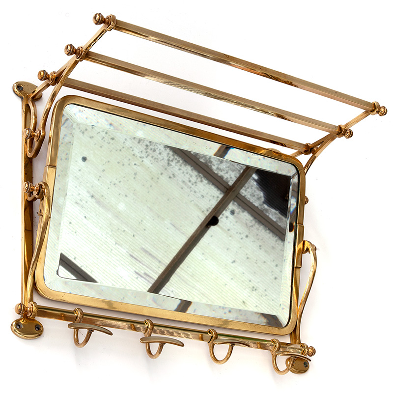 Polished Brass Coat and Hat Rack with Deep Bevelled Adjustable Mirror