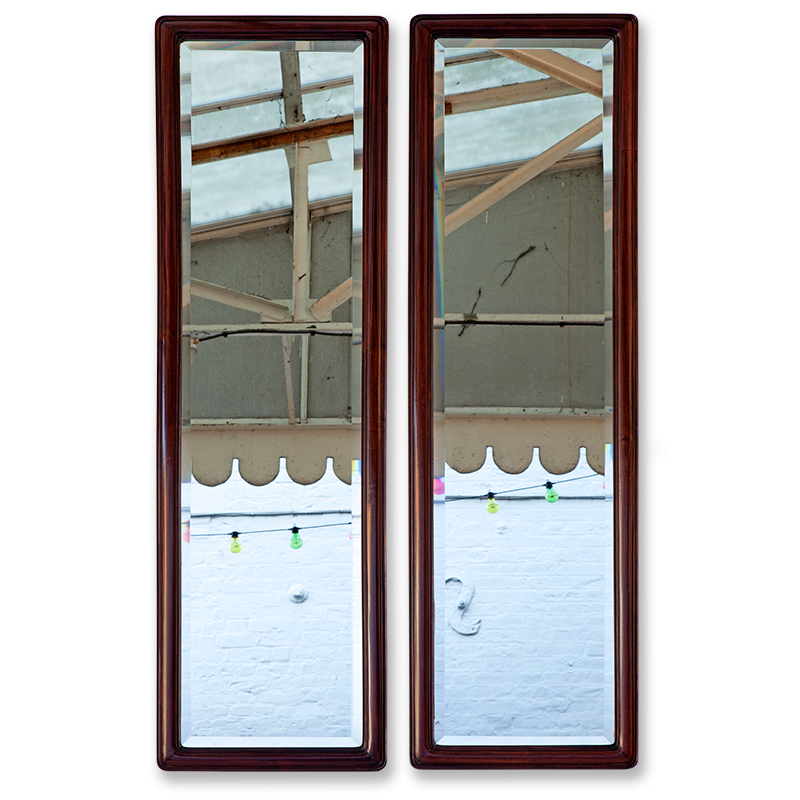 Pair of Rosewood Pier Mirrors with Original Deep Bevelled Plates