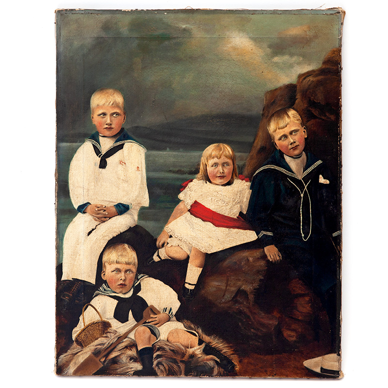 Antique creepy kids oil painting on unframed canvas. c.1890.