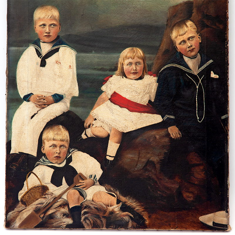 Antique Creepy Kids Oil Painting on Unframed Canvas