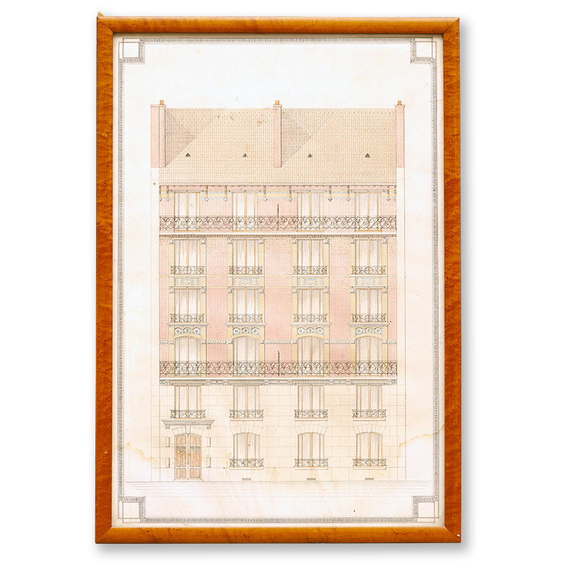 Antique architectural drawing of French apartment block remounted in maple frame. c.1900