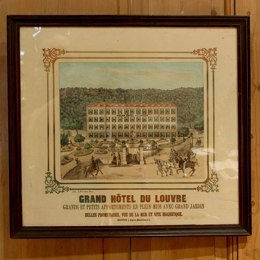 Grande Hotel Du Louvre card advertising sign in original frame. Circa 1880.