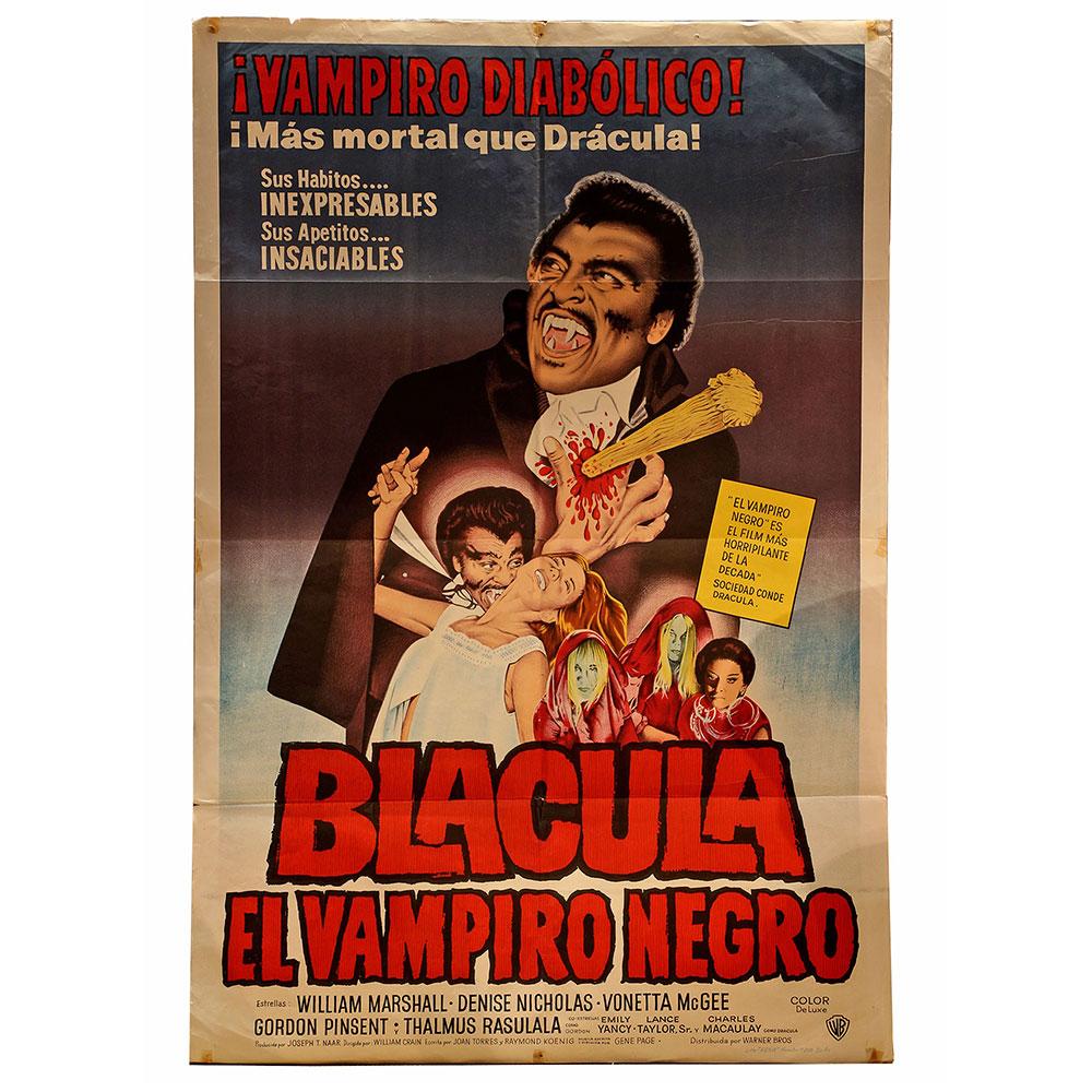 Original `Blacula` vintage horror film poster. `Vampiro diabolico! Mas mortal que Dracula`. 1972.