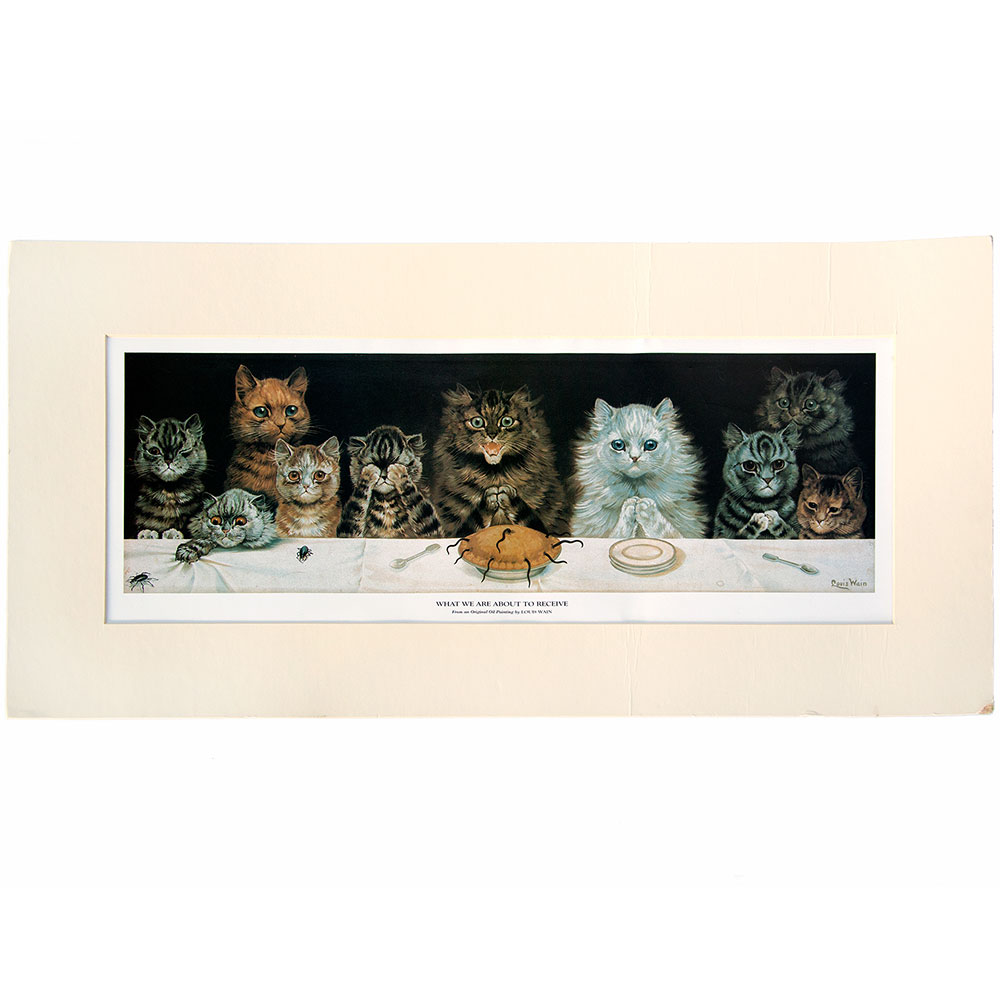 What We are About to Receive - mouse pie! Unframed, original Louis Wain print.