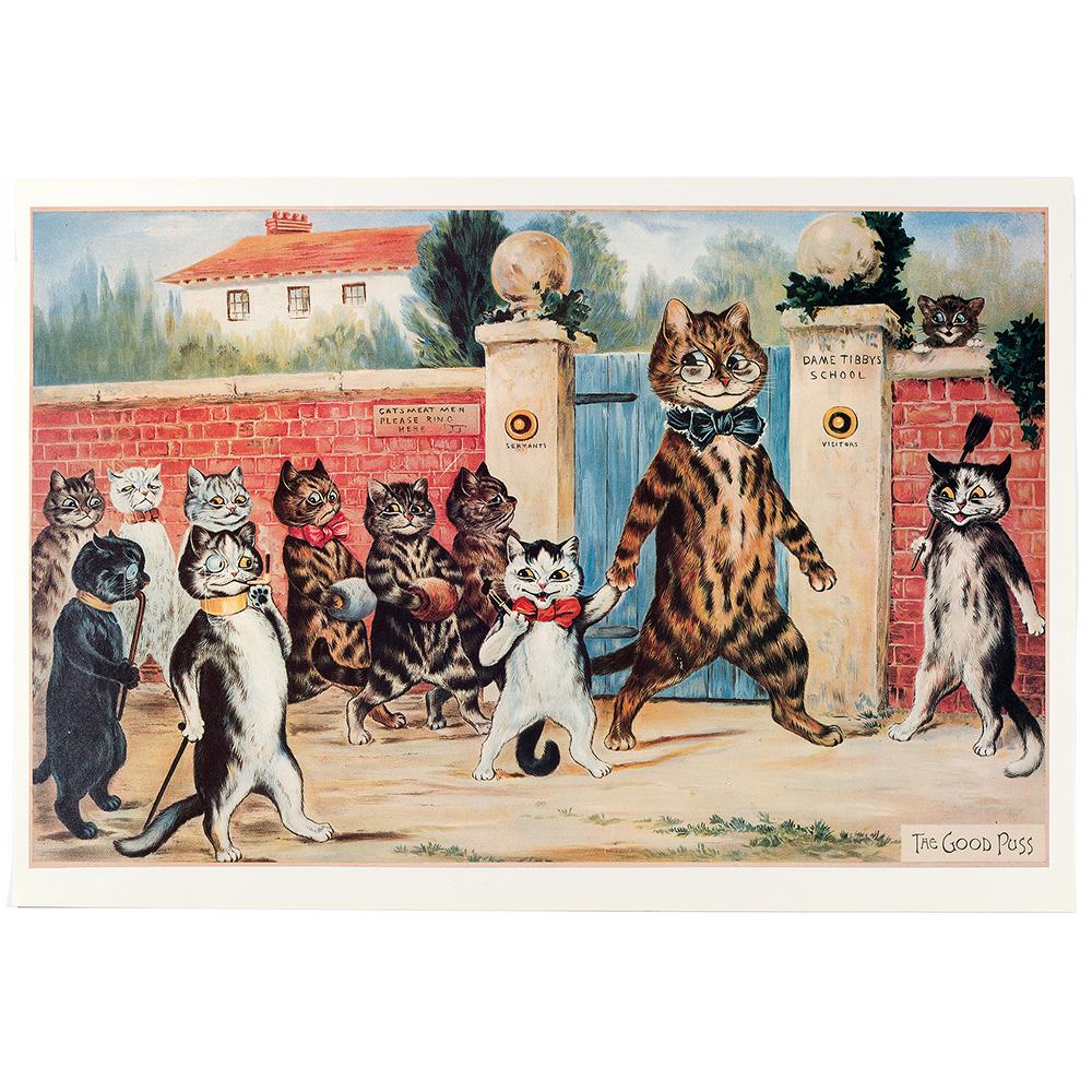 Five different Louis Wain Pears prints. These are 1960`s quality reprints of originals. (c.1900).