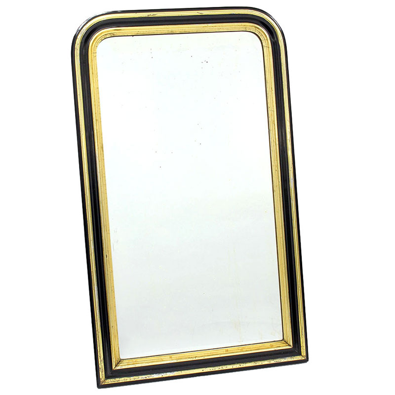 Antique French pier mirror with original plate in ebonised and gilded frame. Circa 1880.