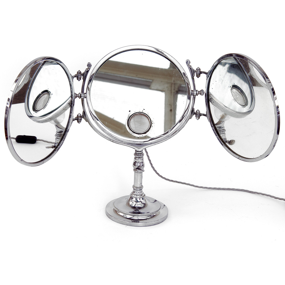 Extremely heavy and rare antique folding adjustable height nickel plated tryptic mirror Brot. (c.1910).