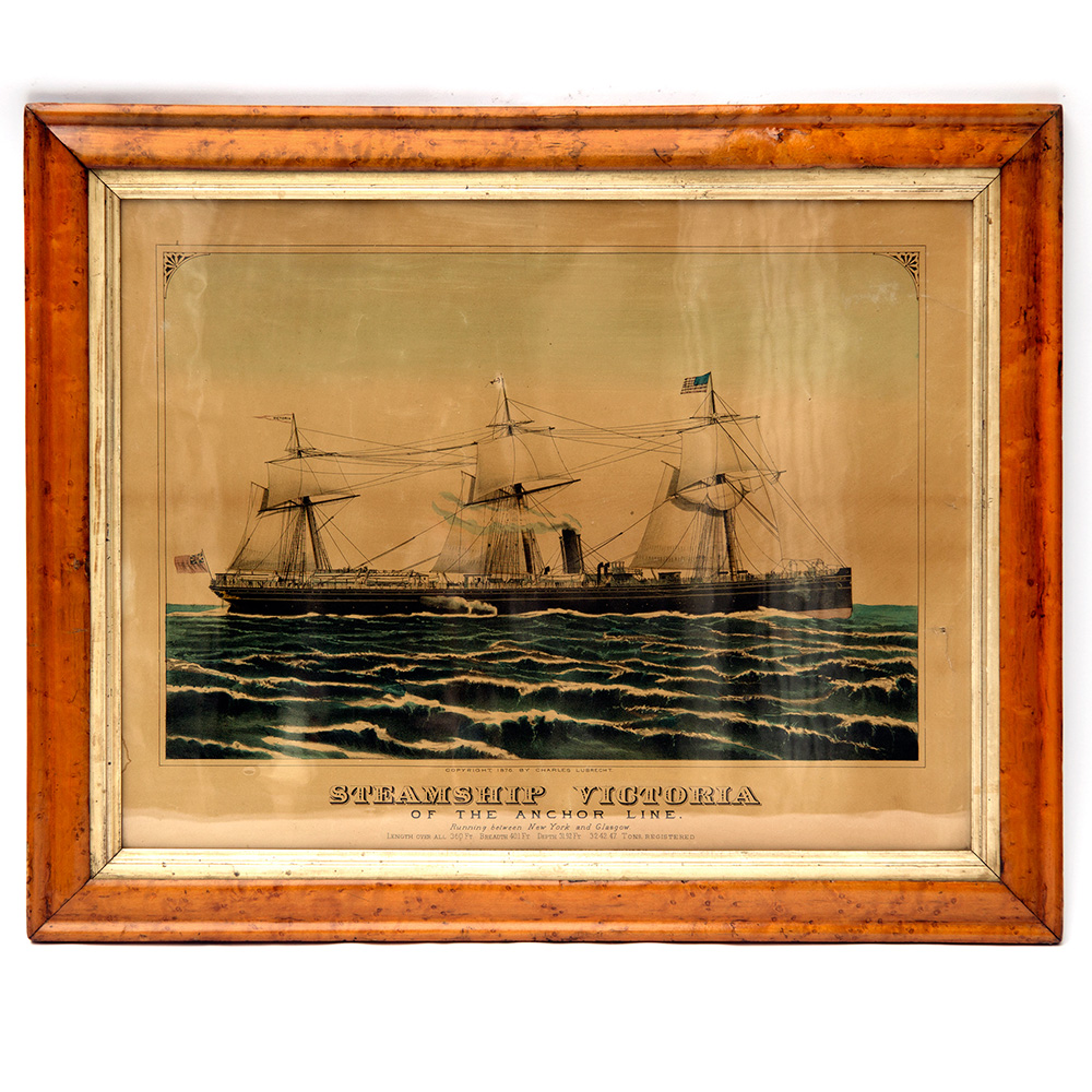 Steamship Victoria of the Anchor Line antique print in the original maple frame. (Circa 1872).
