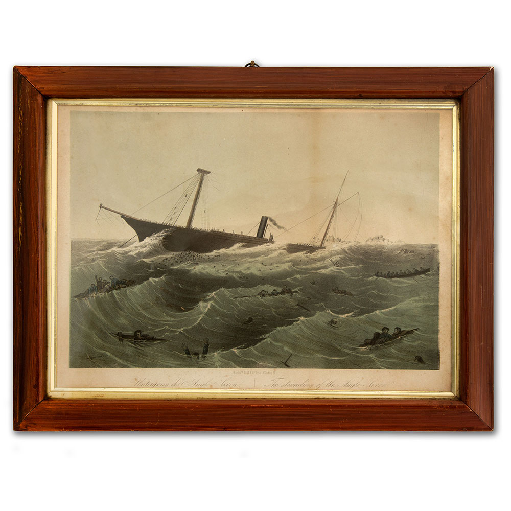 'The Stranding of the Anglo Saxon' antique marine disaster print in original faux rosewood frame. (Circa 1890).