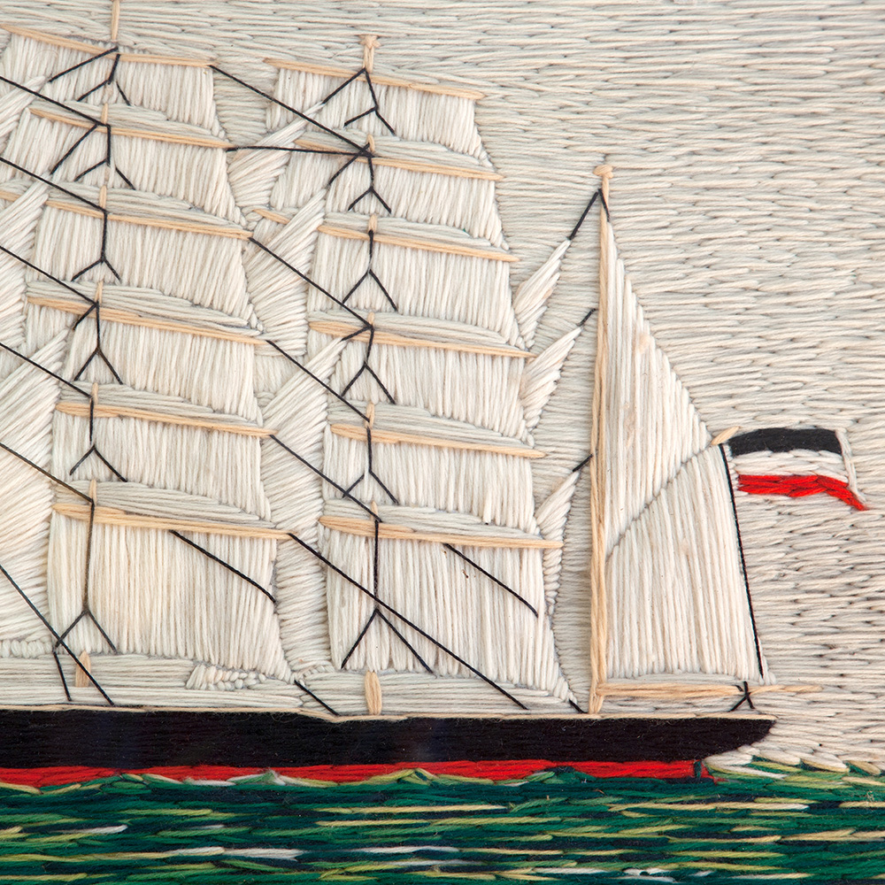 Impressive Sailors Woolwork Picture of a Four Masted Schooner
