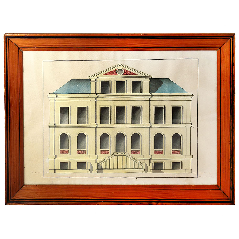 Antique pen and ink hand coloured architectural drawing signed and dated 1856.