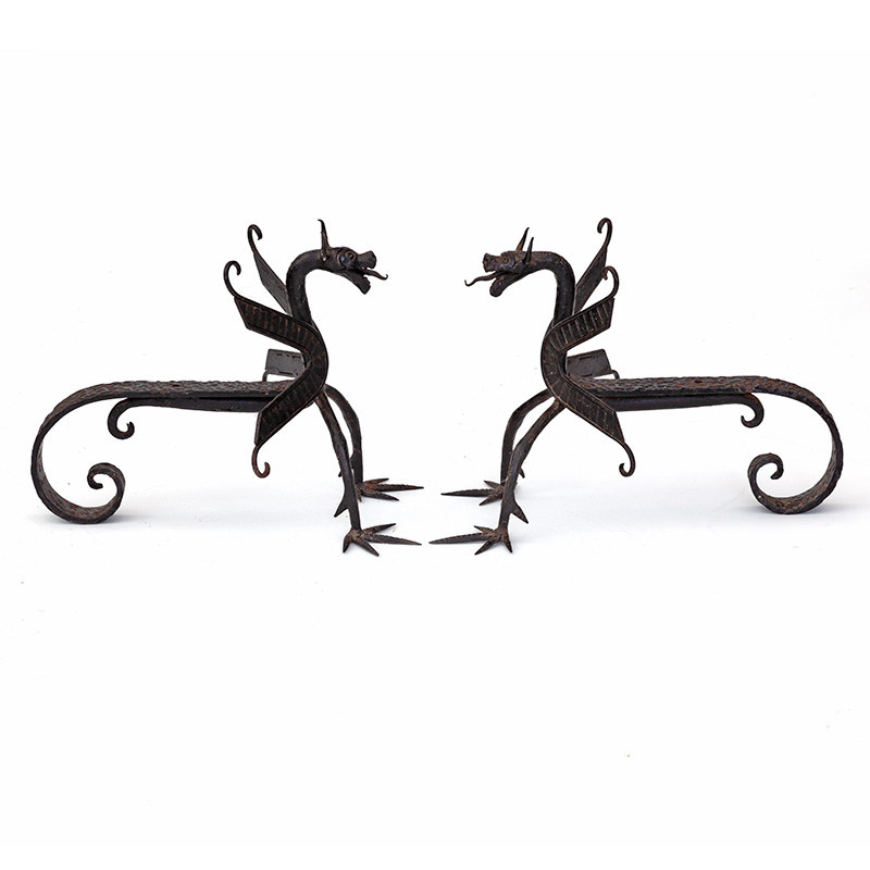 Impressive pair of wrought iron dragon fire dogs from Andalucia. c.1900.