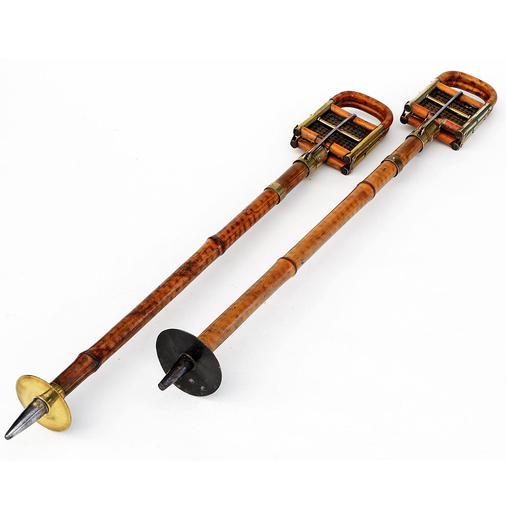 Near Pair of Best Model Bamboo and Bergere Brass Mounted Shooting Sticks