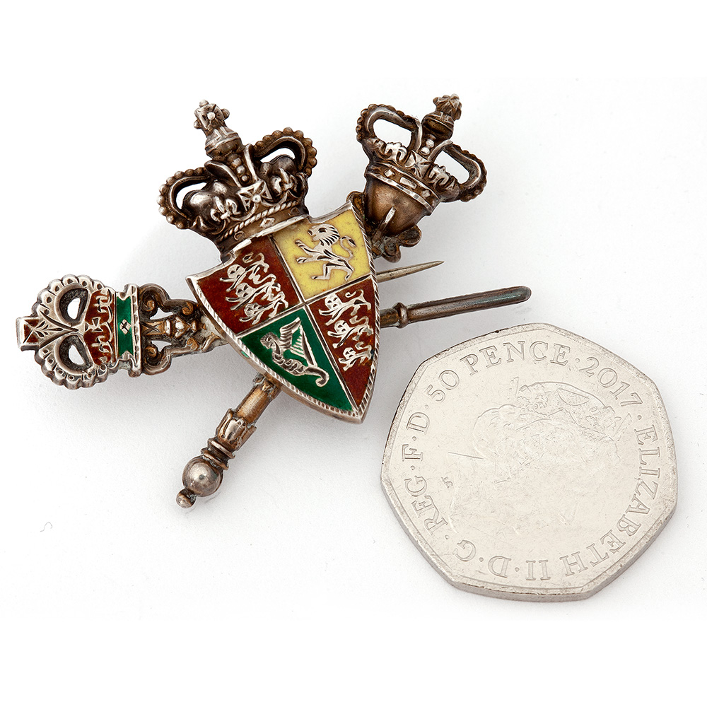 Charming Victorian Silver and Enamel Articulated Brooch