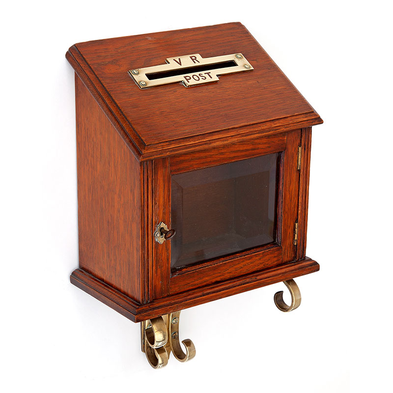 Rare antique wall mounted oak and brass letter box with key. (c.1900)