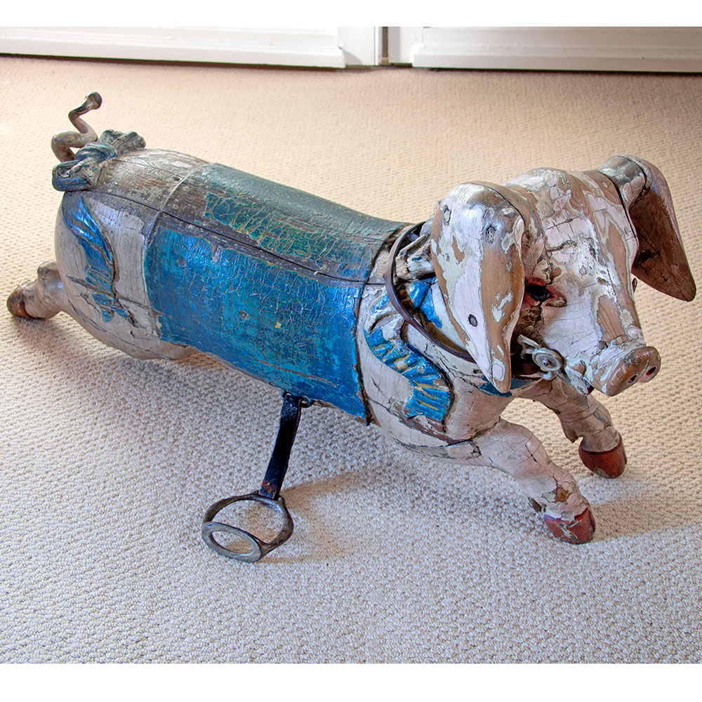 Rare antique French Bayol juvenile fairground pig with original paint. Circa 1890.