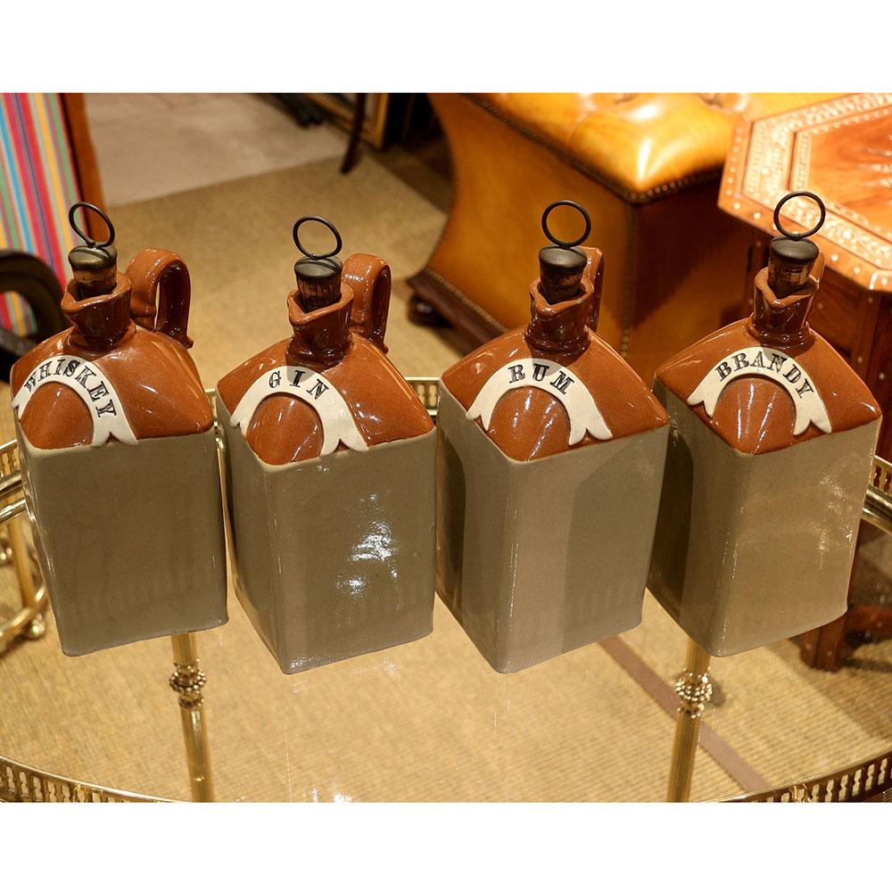 Set of Four Two Tone Stoneware Spirit Flagons