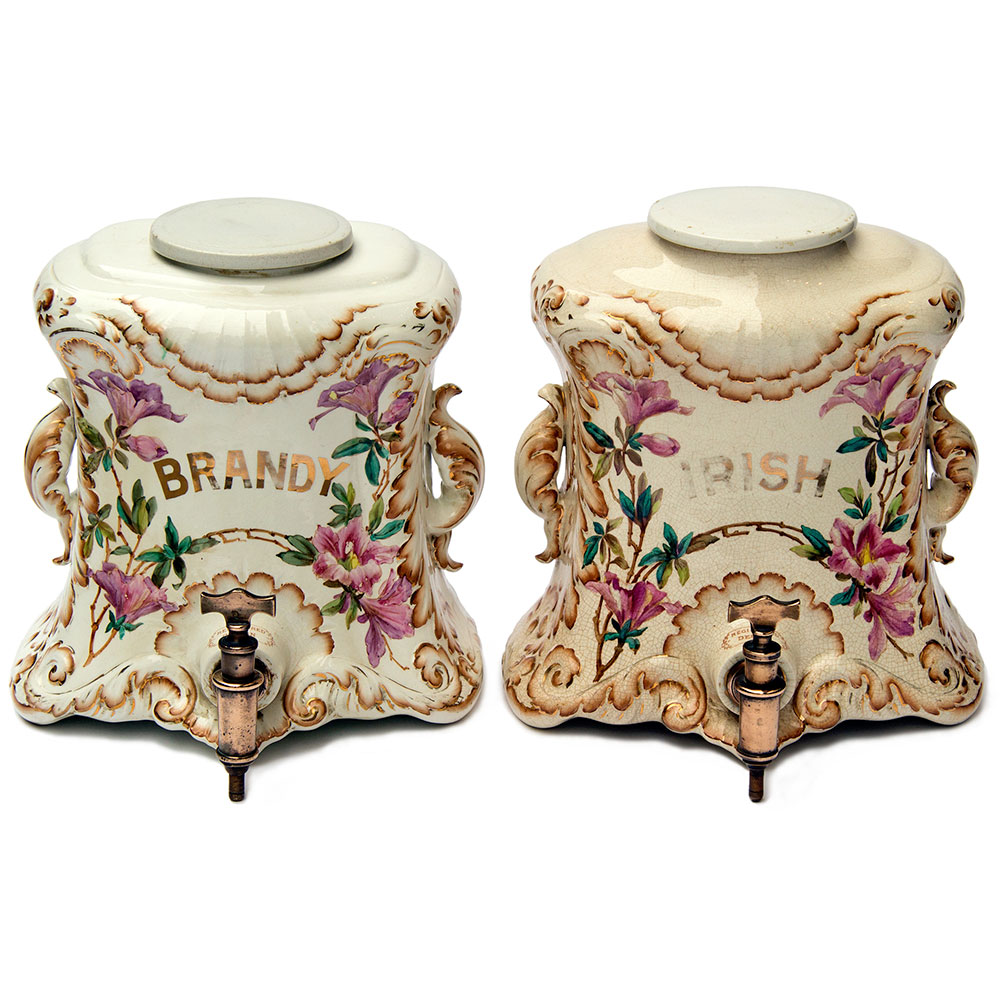 Antique Serpentine Fronted Flat Back Spirit Dispensers