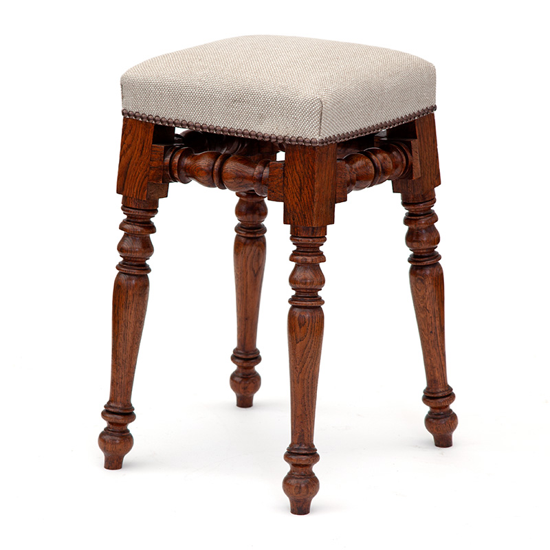Antique Oak Dressing Table Stool Upholstered in a Tweed Linen
