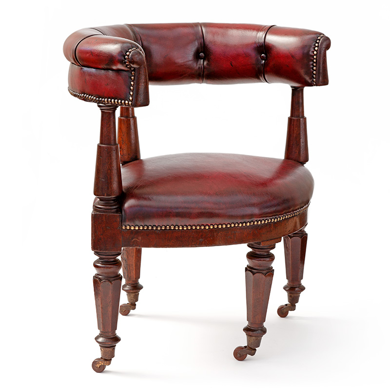 Rare Mahogany and Red Leather Gentleman's Gaming Chair (c.1840)