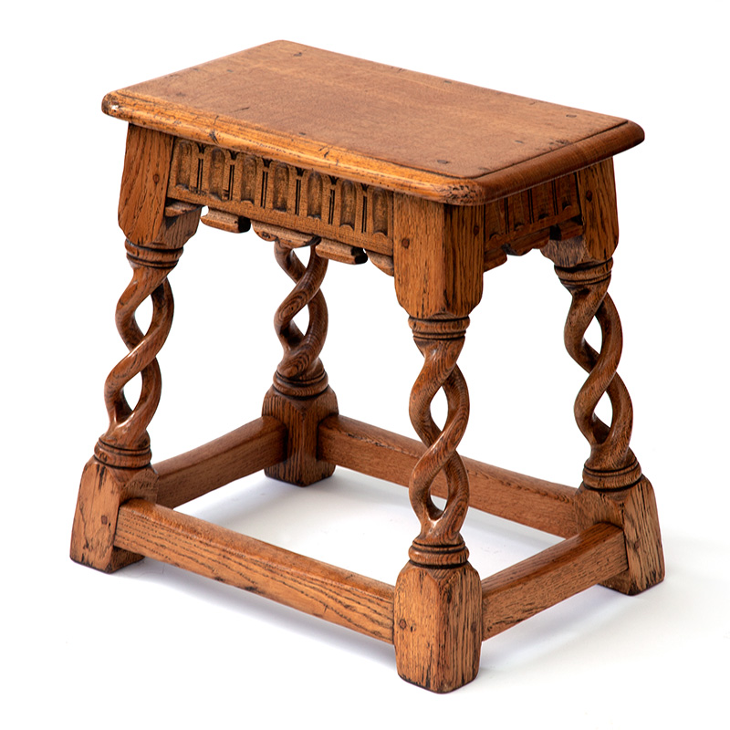 Antique golden oak peg jointed stool or table with hand carved barley twist legs on stretcher base. c.1860