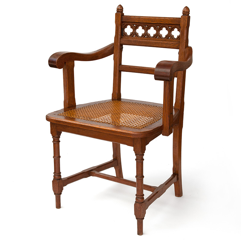 Polished Oak Chunky Puginesque Gothic Revival Desk Chair