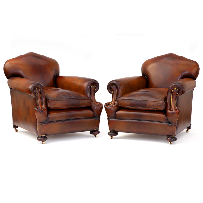 Fabulous Pair of Double Scroll Arm Leather Camel Back Club Chairs