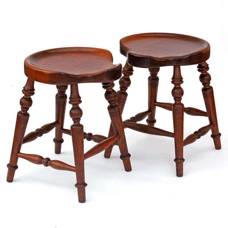 Unusual and Attractive Pair of Scalloped Edged Mahogany Stools