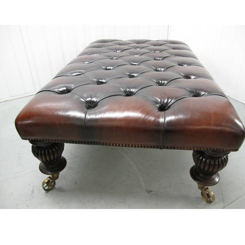 William IV Style Deep Buttoned Leather Bench on Mahogany Legs