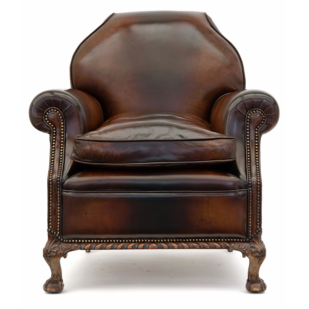 Superb Pair of Large Leather Club Chairs