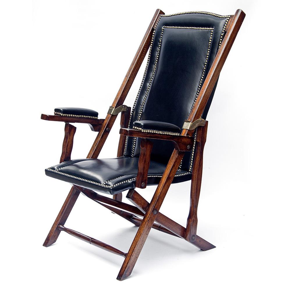 Teak Framed Folding Campaign Steamer Chair