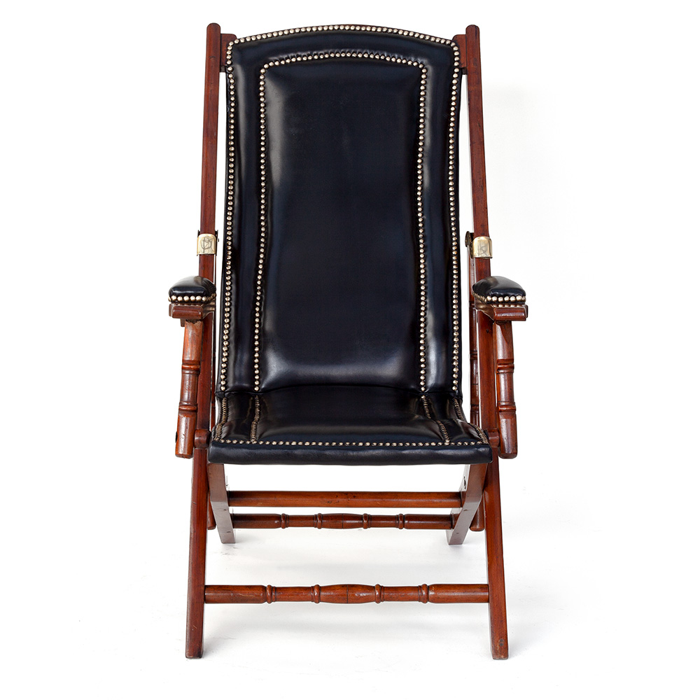 Folding Teak and Black Leather Steamer Chair