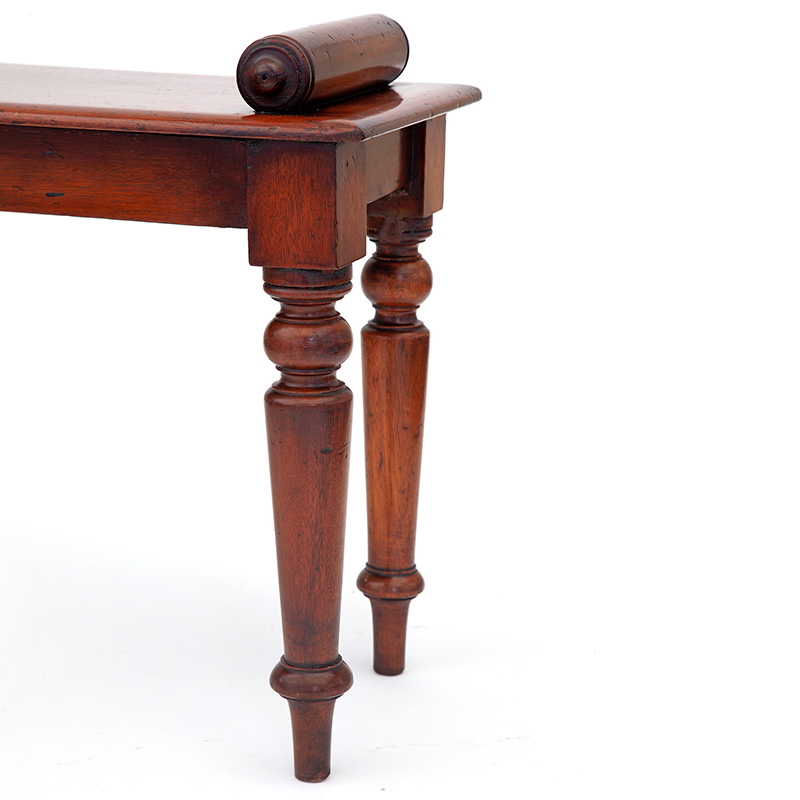 Mahogany Hall Bench with Bolster Ends