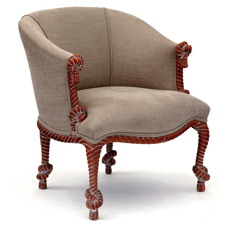 In the manner of Fournier carved limewood rope twist barrel back armchair reupholstered in oatmeal hessian. Mid 20th C.