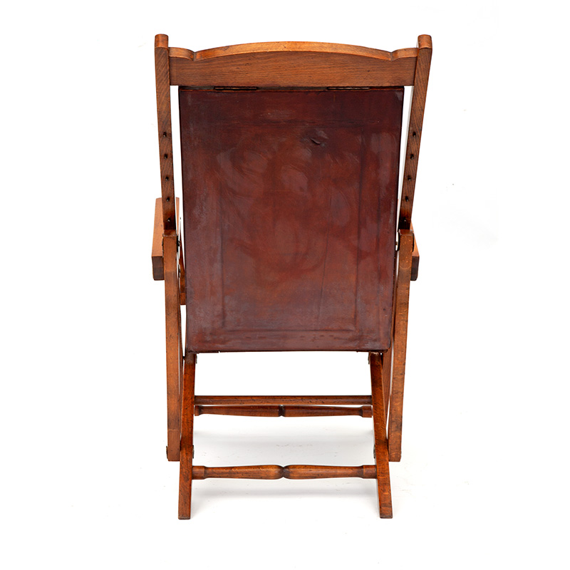 Pale Mahogany Folding Steamer Chair with Original Repolished Leather
