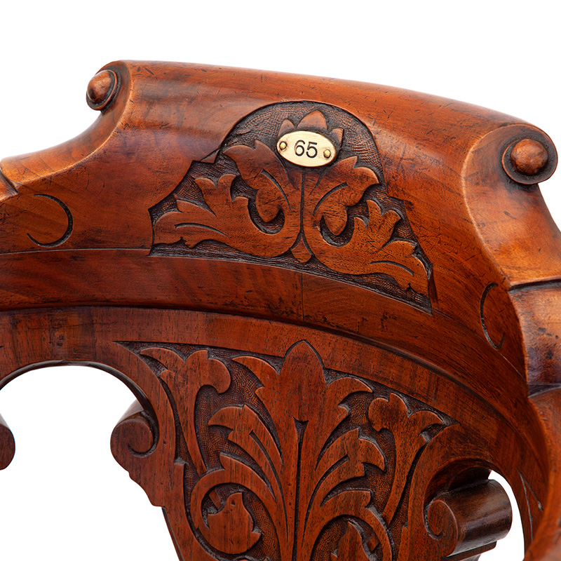Heavily Carved Mahogany Revolving Ships Chair