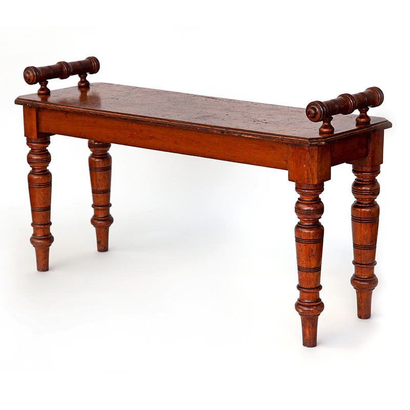 Antique gutsy oak country house hall bench. (c.1870)