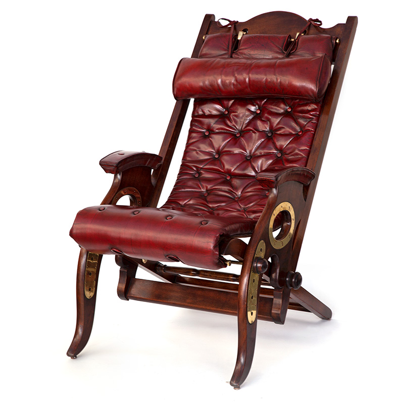 Antique Brass Mounted Mahogany Folding Armchair from an Original Design by Herbert McNair