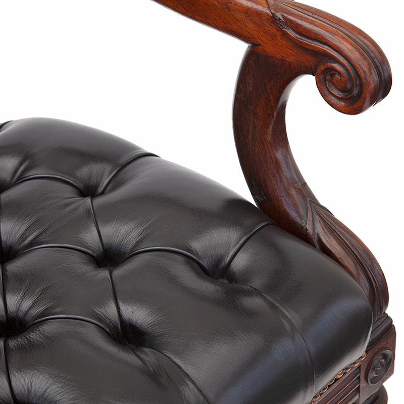 Pair of Regency Mahogany and Rosewood Deep Buttoned Leather Library Chairs