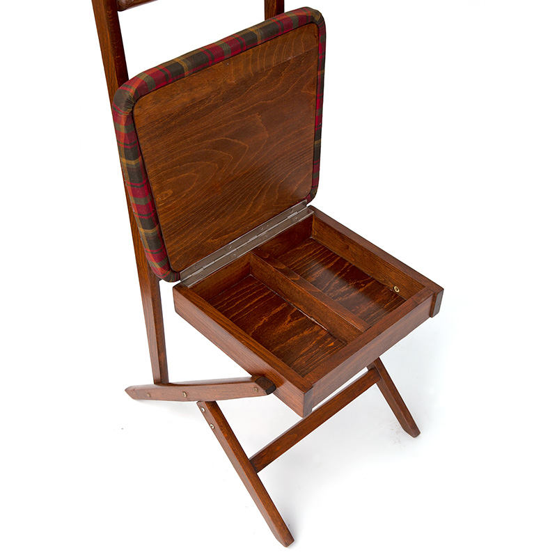 Rare Polished Mahogany Valet Seat with Sectioned Storage Compartments