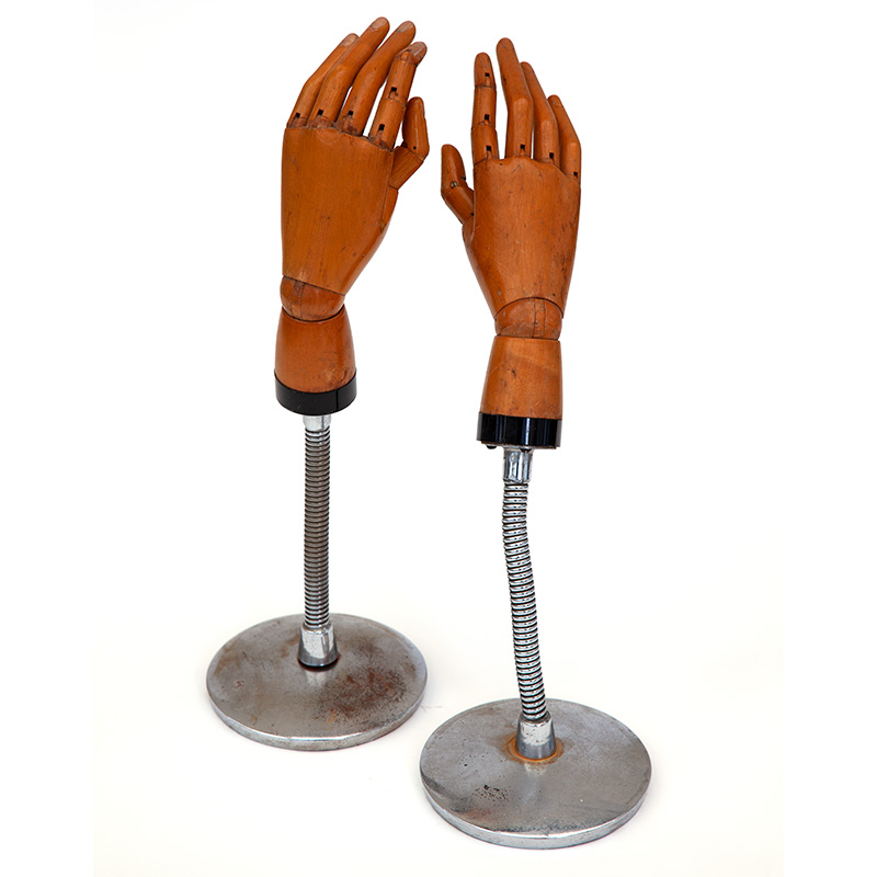 Pair of Fully Articulating Boxwood Glove Shop Display Hands